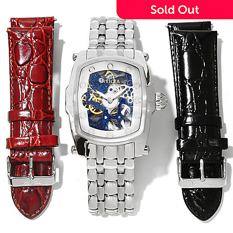 605-359 - Invicta Men's Lupah Mechanical Skeleton Dial Stainless Steel Bracelet Watch