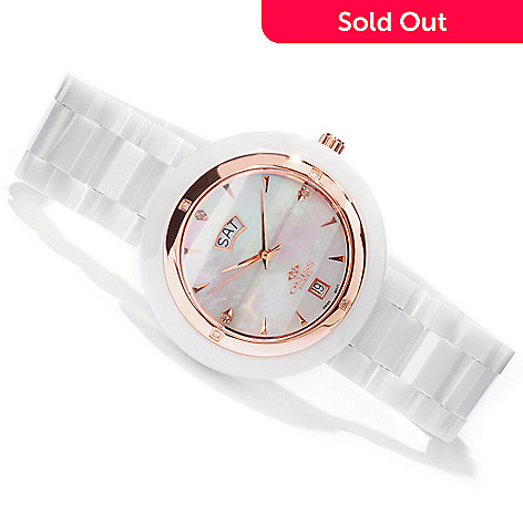 605-416 - Oniss Women's Quartz Movement Diamond Accented Ceramic Bracelet Watch