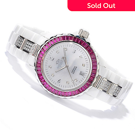 605-421 - Oniss Women's Princess Crystal Accented Ceramic Bracelet Watch