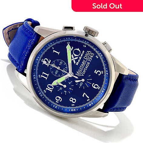 605-446 - XO Retro Men's P-38 Lightning Vintage WWII 1943 Military DNA Strap Watch