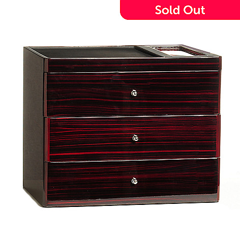 605-466 - Sicuro Deluxe 30-Slot Velour Lined Three Drawer Watch Storage Unit