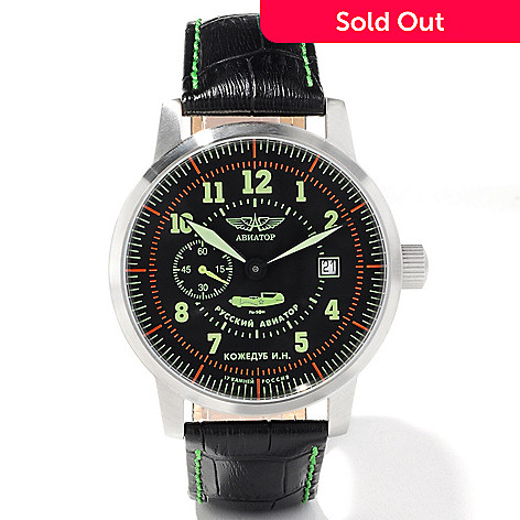 605-501 - Aviator Men's Russian Flying Ace Pilot's Heritage Mechanical Leather Strap Watch