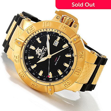 605-502 - Invicta Men's Subaqua III Swiss Made Quartz GMT Mother-of-Pearl Dial Polyurethane Strap Watch