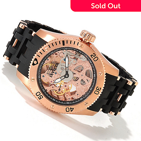605-511 - Invicta Men's Sea Spider Skeletonized Mechanical Polyurethane Bracelet Watch