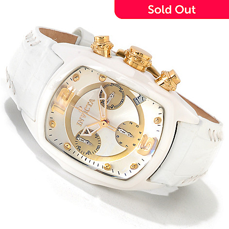 605-520 - Invicta Women's Lupah Revolution Ceramic Case Leather Strap Watch