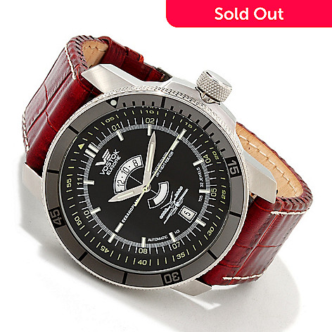 605-561 - Vostok-Europe Men's Caspian Sea Monster Automatic Leather Strap Watch w/ Extra Strap