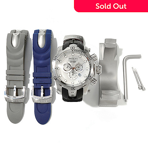 605-605 - Invicta Reserve Men's Venom Ocean Quest II Swiss Quartz Chronograph Strap Watch w/ Two Extra Straps