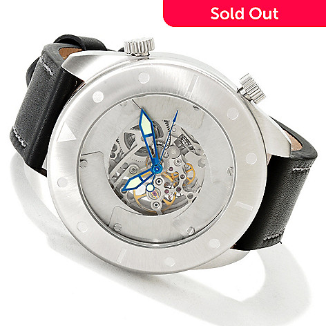 605-671 - Android Men's Ninja Throwing Star Automatic Skeletonized Dial Strap Watch