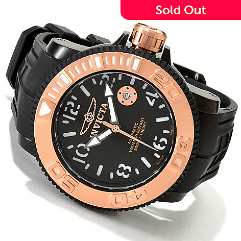 605-714 - Invicta Men's Sea Hunter Swiss Made Automatic Exhibition Back Polyurethane Strap Watch