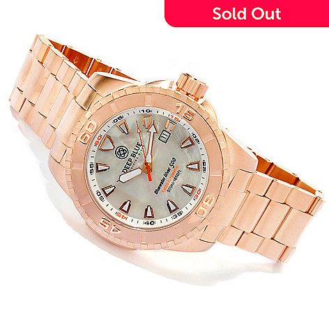 605-760 - Deep Blue Men's Bluewater Diver 500 Swiss Automatic Mother-of-Pearl Dial Rose-tone Bracelet Watch