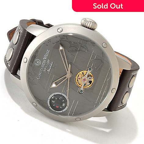 605-784 - Constantin Weisz Men's Heritage Nautilus Automatic Leather Strap Watch