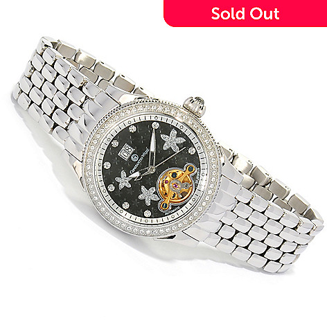 605-790 - Constantin Weisz Women's Automatic Flower Bracelet Watch Made w/ Swarovski® Elements