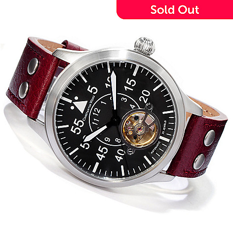 605-803 - Constantin Weisz Men's Pilot 1930 Automatic Open Heart Leather Strap Watch