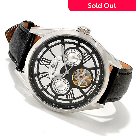 605-850 - Constantin Weisz Men's Automatic Stainless Steel Case Open Heart Leather Strap Watch
