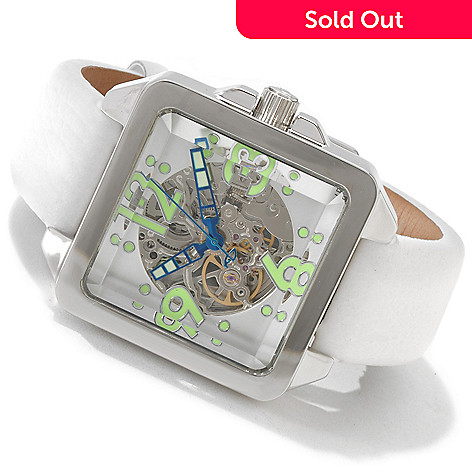 605-907 - Android Men's Galactopus 40 Skeleton Automatic Leather Strap Watch