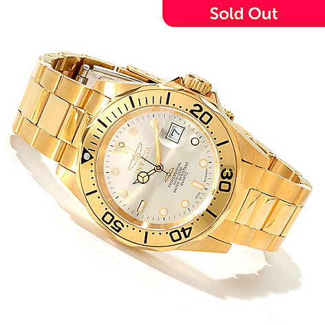 606-039 - Invicta Men's Pro Diver Quartz 18K Gold Plated Bracelet Watch