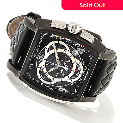 606-046 - Invicta Men's S1 Racer Swiss Quartz Chronograph Tachymeter Carbon Fiber Dial Leather Strap Watch