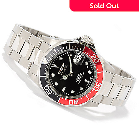 606-093 - Invicta Men's Pro Diver Automatic Exhibition Back Stainless Steel Bracelet Watch w/ 3-Slot Dive Case