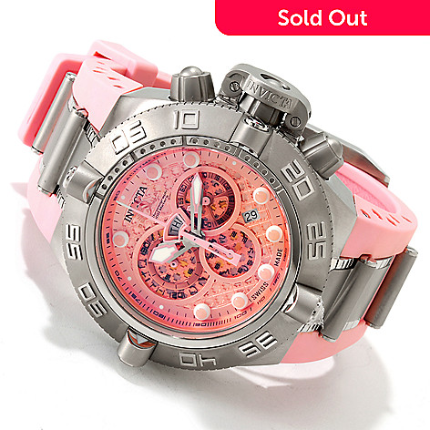 606-162 - Invicta Men's Subaqua Noma IV Swiss Made Quartz Chronograph Tachymeter Pink Polyurethane Strap Watch