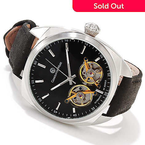 606-200 - Constantin Weisz Men's Double Escapement Automatic Leather Strap Watch