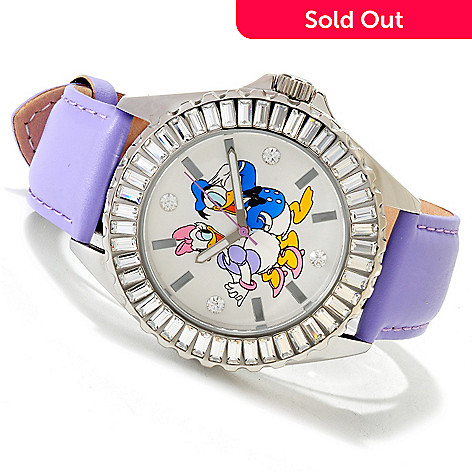 606-220 - Disney Women's Dancing Characters Oversized Stainless Steel Strap Watch