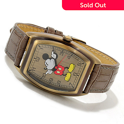 606-223 - Disney Men's Vintage Mickey Mouse Quartz Leather Strap Watch