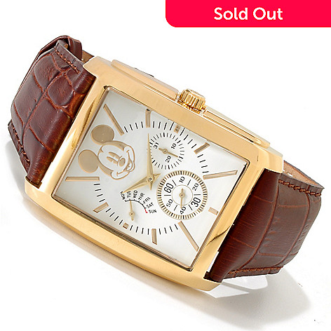 606-224 - Disney Men's Mickey Mouse Quartz Stainless Steel Case Leather Strap Watch