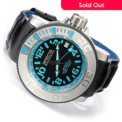 606-273 - Invicta Reserve Men's Sea Hunter Swiss Automatic GMT Leather Strap Watch