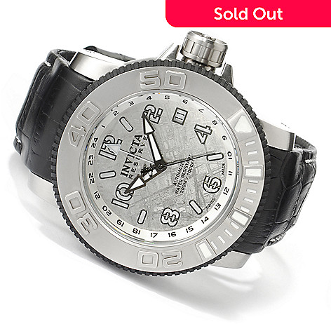 606-275 - Invicta Reserve Men's Sea Hunter Swiss Made Automatic GMT Leather Strap Watch