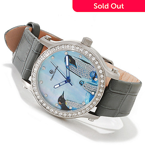 606-364 - Constantin Weisz Women's Automatic Crystal Accent Penguin Dial Leather Strap Watch