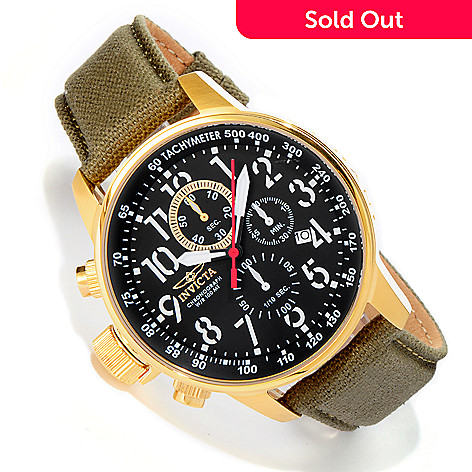 606-440 - Invicta Men's I Force Quartz Chronograph Stainless Steel Case Rifle Leather Strap Watch