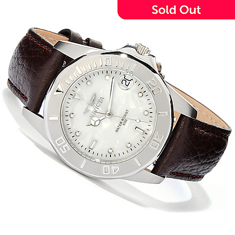 606-463 - Invicta Women's Pro Diver Quartz Stainless Steel Case Leather Strap Watch
