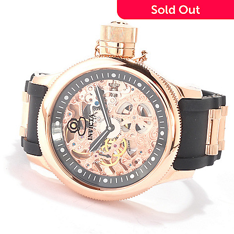 606-468 - Invicta Men's Russian Diver Mechanical Skeleton Strap Watch