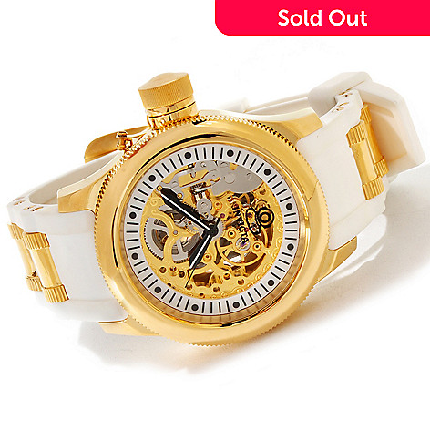 606-487 - Invicta Russian Diver Mechanical Skeleton Strap Watch