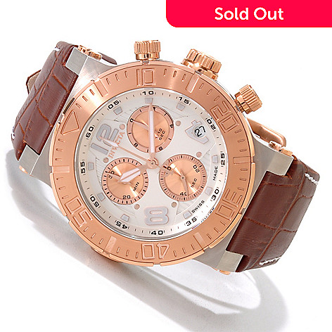 606-500 - Invicta Reserve Men's Ocean Reef Swiss Chronograph Leather Strap Watch