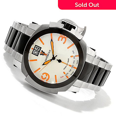 606-510 - Imperious 50mm Man of War Swiss Made Quartz Stainless Steel Bracelet Watch