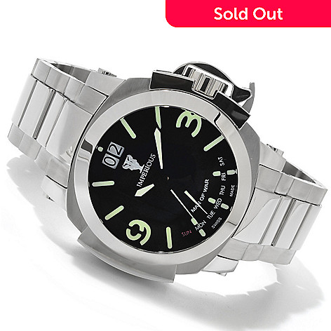 606-525 - Imperious Men's Man of War Swiss Made Quartz Stainless Steel Bracelet Watch