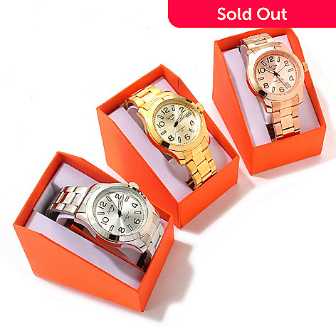 606-528 - Activa Women's Quartz Sunray Dial Set-of-Three Bracelet Watches