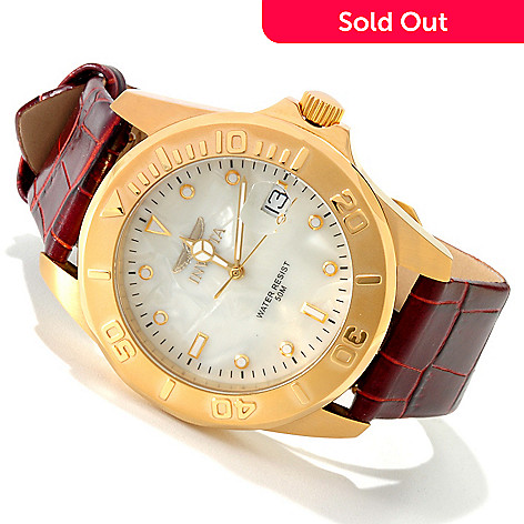606-544 - Invicta Men's Pro Diver Quartz Leather Strap Watch