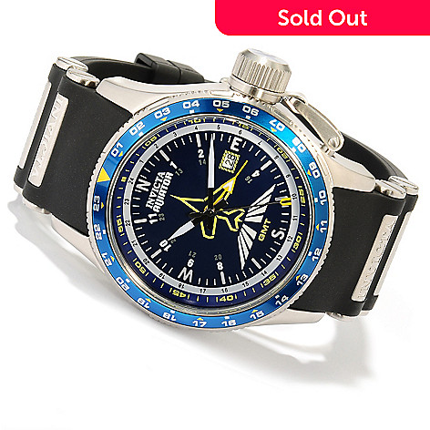 606-591 - Invicta Men's Aviator Quartz GMT Stainless Steel Case Polyurethane Strap Watch