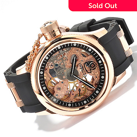 606-606 - Invicta Russian Diver Mechanical Skeleton Dial Strap Watch