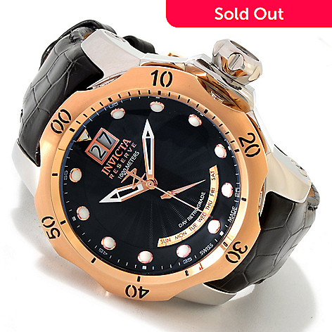 606-607 - Invicta Reserve Men's Venom Swiss Made Quartz Leather Strap Watch w/ 3-Slot Dive Case
