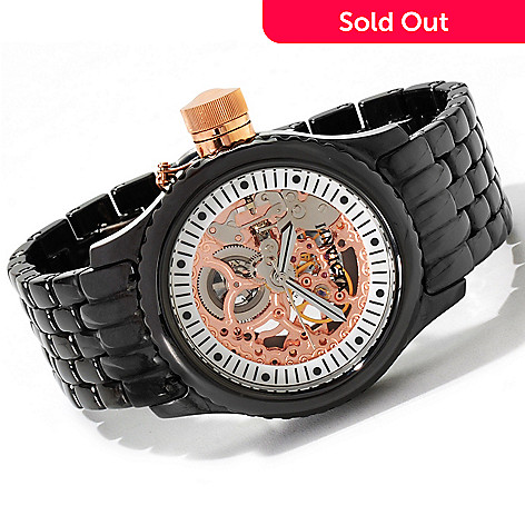 606-665 - Invicta Ceramics 47mm Russian Diver Mechanical Skeletonized Bracelet Watch