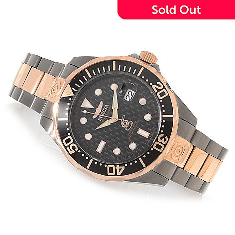 606-673 - Invicta Men's Grand Diver Carbon Fiber Dial Bracelet Watch w/ Three-Slot Dive Case