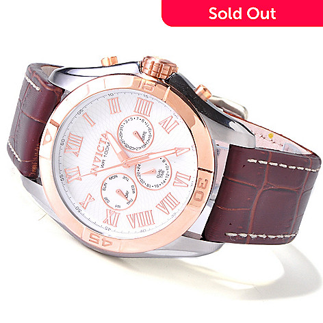 606-685 - Invicta Men's Specialty Quartz GMT Stainless Steel Leather Strap Watch