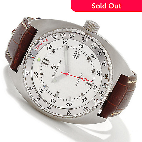 606-824 - Constantin Weisz Men's Automatic Stainless Steel Leather Strap Watch