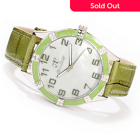 606-935 - Arm Candy Women's Quartz Crystal & Enamel Bezel Strap Watch