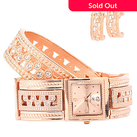 606-941 - Arm Candy by W Women's Crystal Accented Bracelet Watch w/ Earrings & Bangle