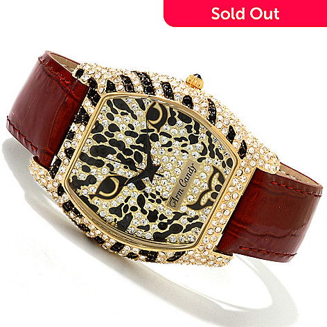 606-949 - Arm Candy by W Women's Quartz Crystal Accented Animal Patterned Strap Watch