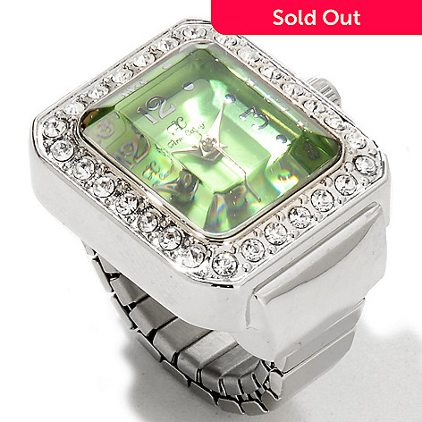 606-952 - Arm Candy by W Women's Quartz Crystal Accented Faceted Crystal Jewel Ring Watch